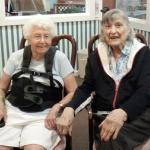 "Helen with her friend Milly Frye.  Milly will be celebrating her 91st Birthday in June.  Helen, Milly and Margaret McNeal were nearly the same age and background and were friends at our church.  Margaret, also known as ""Sarge"" passed away earlier this year."